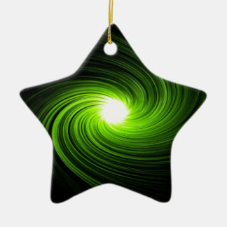 Green swirl abstract. ceramic star ornament