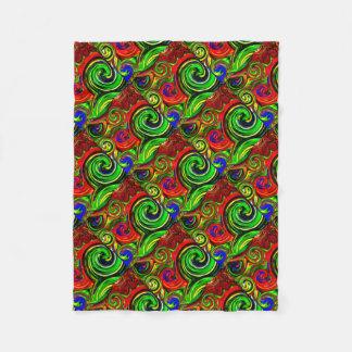 Green Swirl  Abstract Print Fleece Blanket