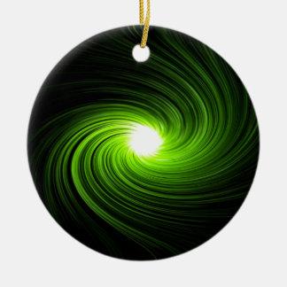 Green swirl abstract. round ceramic ornament
