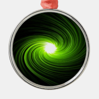 Green swirl abstract. Silver-Colored round ornament