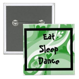 Green Swirl, EatSleepDance 2 Inch Square Button