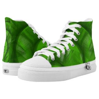Green Swirl high top tennis shoes