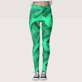 Green swirl leggings