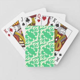 Green Swirl Pattern Playing Cards
