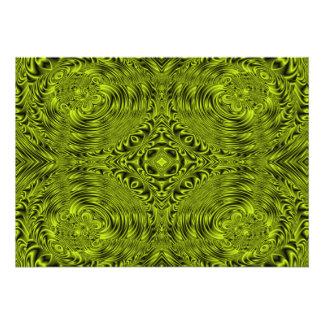 Green swirl warp background custom invitation
