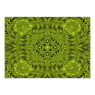 "Green swirl warp background 5"" x 7"" invitation card"