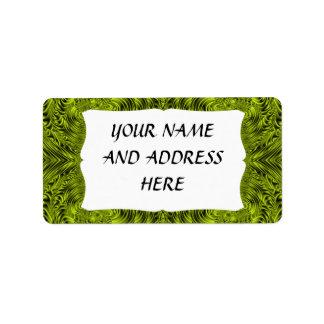 Green swirl warp background custom address labels
