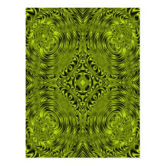 Green swirl warp background post card