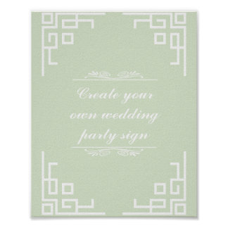 Green Swirl White Border Wedding Party Sign Poster