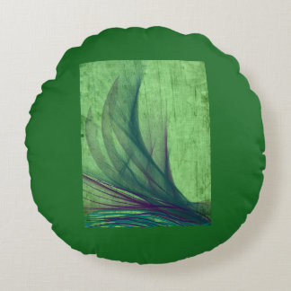 Green swirled designed products round pillow