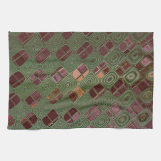 Green Swirls and Earth Tones Kitchen Towel