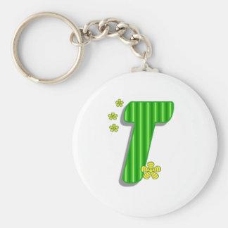 Green T monogram Keychain
