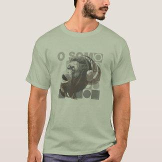 Green t-shirt Masculine Monkey Hearing Music