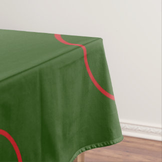 Green Table Cloth with Red Circles