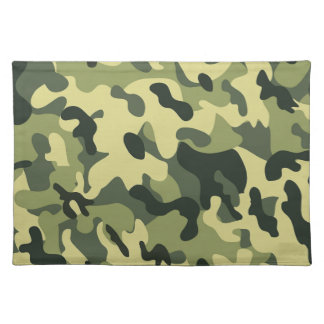 Green Tan Black Camouflage Pattern Background Placemat
