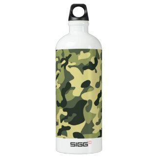 Green Tan Black Camouflage Pattern Background Water Bottle