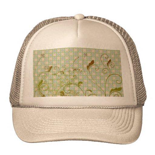 Green & Tan Floral Swirls on Green Pattern Mesh Hats