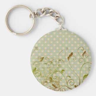 Green & Tan Floral Swirls on Green Pattern Keychain