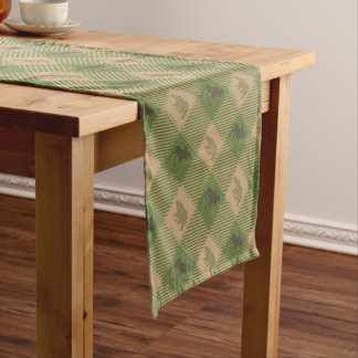 Green Tan Moose Bear Pattern Short Table Runner