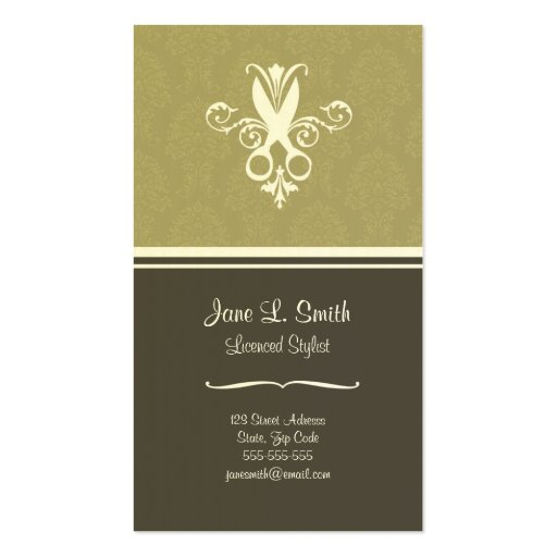 Green Tapestry Scissors Business Card