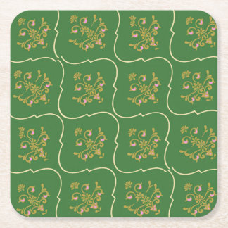 Green Tapestry Square Paper Coaster