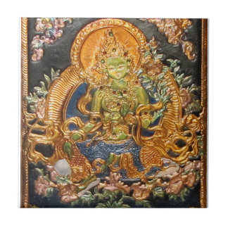 GREEN TARA BUDDHIST DEITY TILE