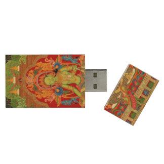Green Tara: Tibetan Buddhist Protector Goddess Wood USB 3.0 Flash Drive