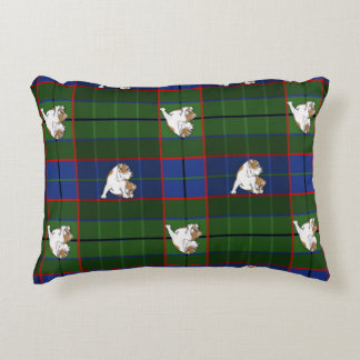 Green Tartan Bulldog Decorative Pillow