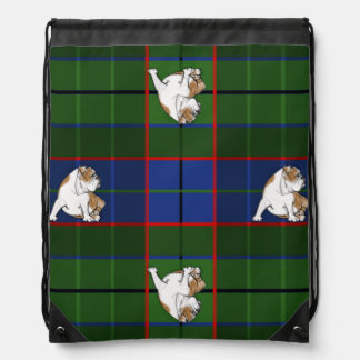 Green Tartan Bulldog Drawstring Bag