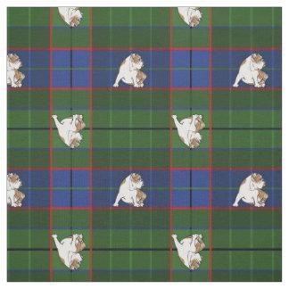 Green Tartan Bulldog Fabric