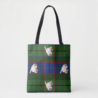 Green Tartan Bulldog Tote Bag