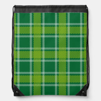 Green Tartan Drawstring Backpack