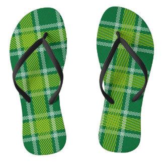 Green Tartan Flip Flops