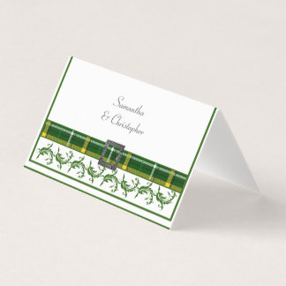 Green tartan place card