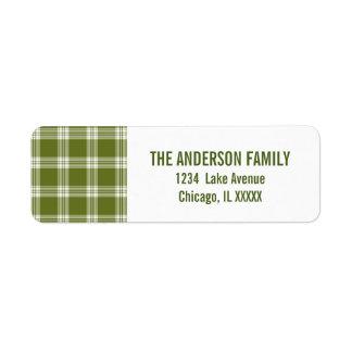 Green Tartan Plaid Christmas Address Labels