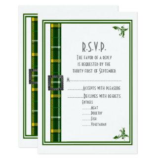 Green tartan plaid ribbon wedding R.S.V.P Card