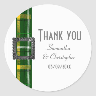 Green tartan ribbon thank you classic round sticker