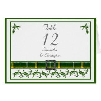 Green tartan table number