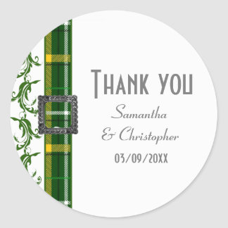 Green tartan thank you classic round sticker