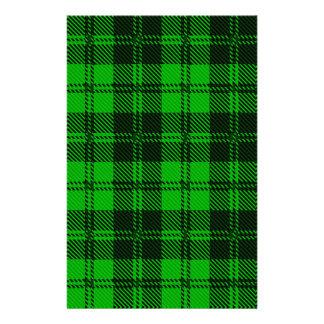 Green Tartan Wool Material Stationery Design