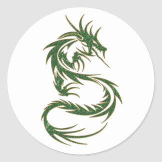 Green Tattoo Dragon Classic Round Sticker