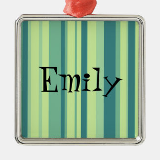 Green Tea and Blueberry Stripes Silver-Colored Square Ornament