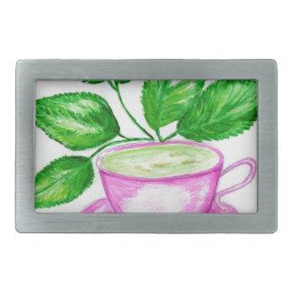 Green Tea Art2 Rectangular Belt Buckle