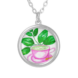 Green Tea Art2 Silver Plated Necklace