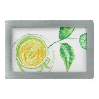 Green Tea Art Rectangular Belt Buckle