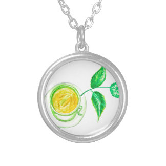 Green Tea Art Silver Plated Necklace