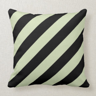 Green Tea & Black Diagonal Stripes Pillow