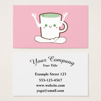 Green Tea cup doing Yoga Business Card