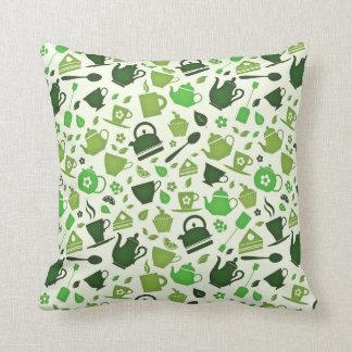 Green Tea Flat Pattern Throw Pillow