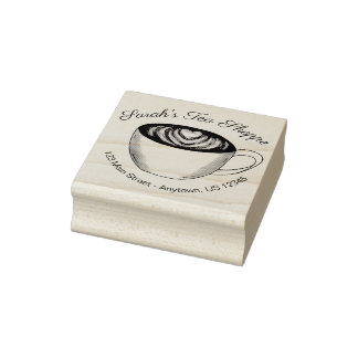 Green Tea Matcha Latte Heart Personalized Coffee Rubber Stamp